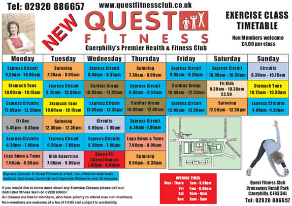 Crown Fitness Class Timetable Pontypridd South Wales